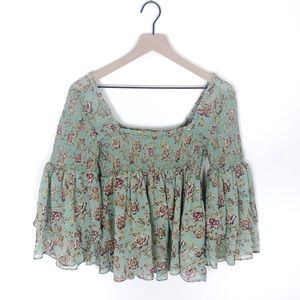Free People Floral Smocked Babydoll Top